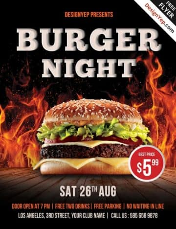Free Burger Night PSD Flyer Template