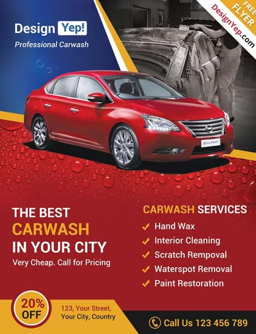 Car Wash Business Free PSD Flyer Template  Car Flyer Template