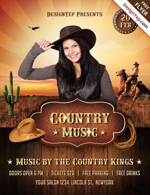 Country Music Night Free PSD Flyer Template