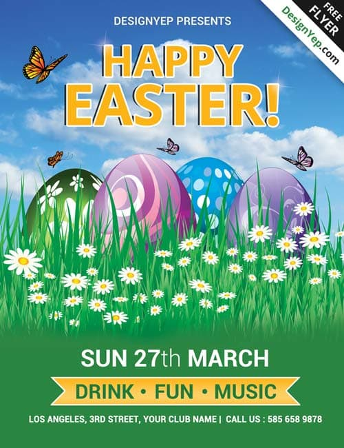 Download Happy Easter Party Free PSD Flyer Template – Easter Flyer Template