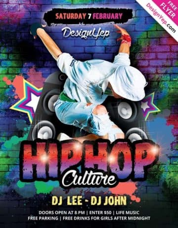 Hip Hop Dance Free PSD Flyer Template