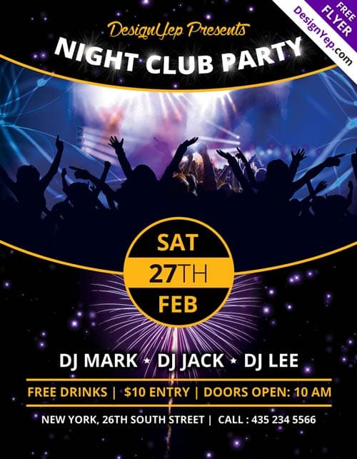 Freepsdflyer  Download Nightclub Party Free Psd Flyer Template