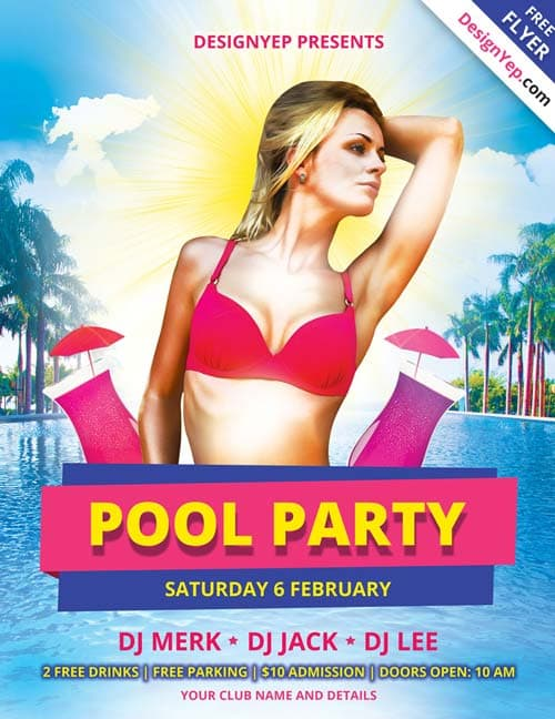 FreePSDFlyer | Download Pool Party Free PSD Flyer Template