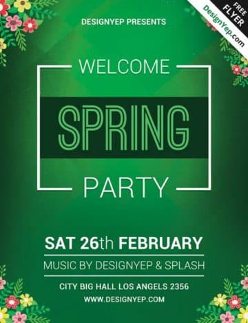 Spring Welcome Party Free PSD Flyer Template
