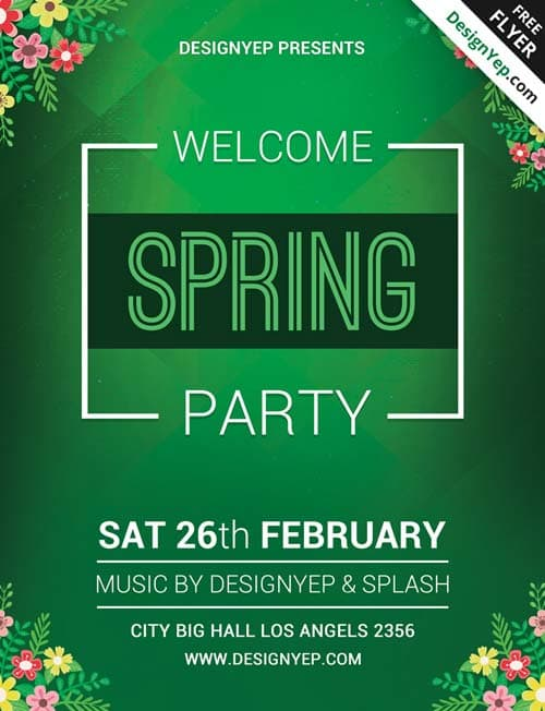 Freepsdflyer  Download Spring Welcome Party Free Psd Flyer Template