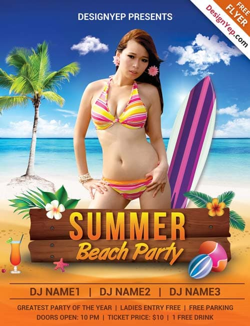 Download Summer Beach Party Free PSD Flyer Template – Beach Party Flyer Template