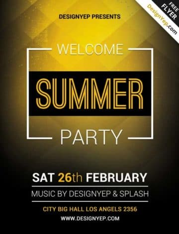 Summer Welcome Party Free PSD Flyer Template
