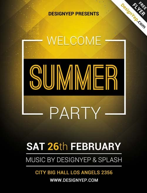 Freepsdflyer Download Summer Welcome Party Free Psd