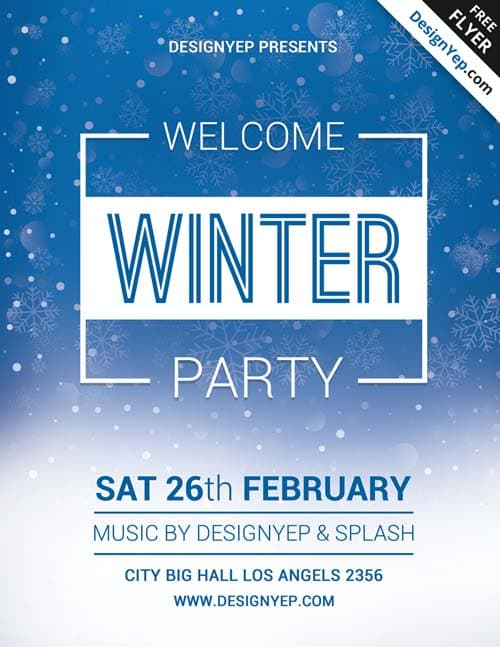 freepsdflyer download winter welcome party free psd flyer template