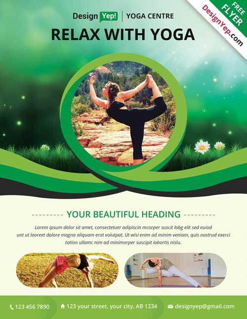 Download Free Yoga Psd Flyer Template