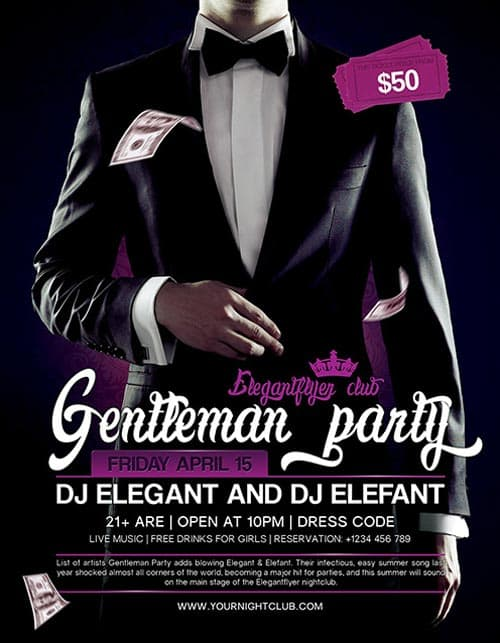 Gentleman Party Free PSD Flyer Template