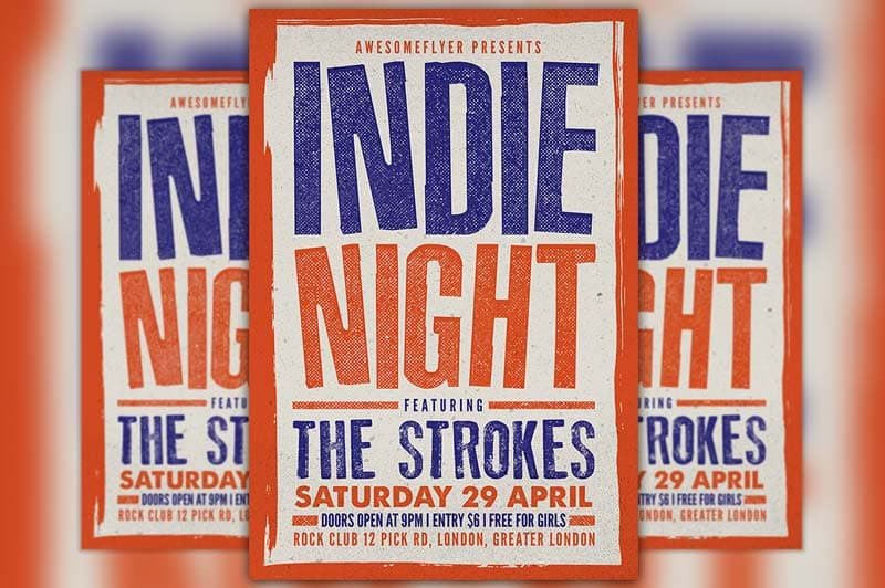 Indie Rock Concert Free Flyer Template
