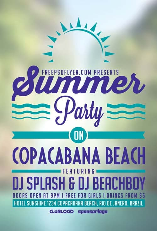 Summer Beach Party Free Flyer Template
