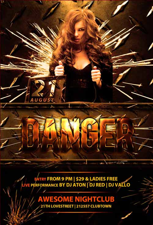 Freepsdflyer Download Danger Club Free Psd Flyer Template