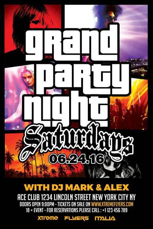 Free Grand Party Night PSD Flyer Template