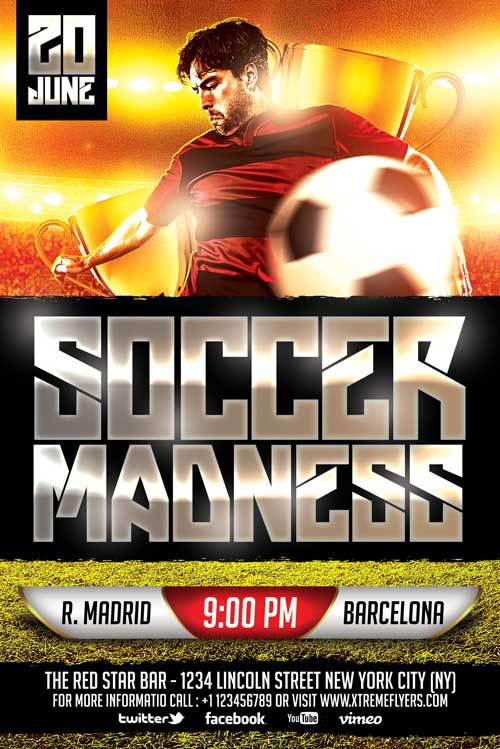 Download Free Soccer Flyer PSD Templates for Photoshop – Sports Flyers Templates Free
