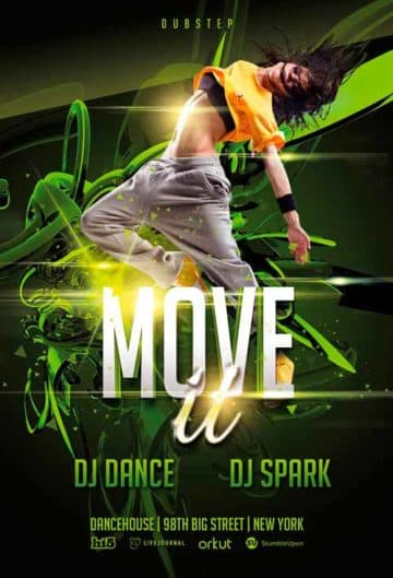 Free Move It Dance Event Free PSD Flyer Template
