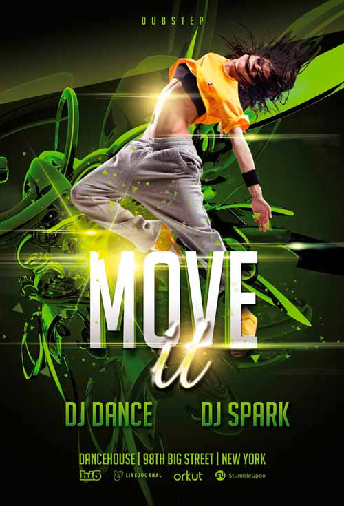 Download Move It Dance Event Free PSD Flyer Template