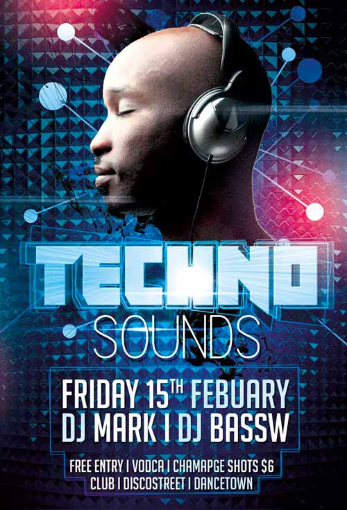 Techno Club Party Free PSD Flyer Template