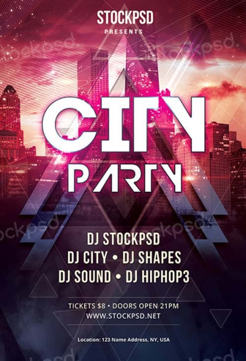 Electro City Club Free Psd Flyer Template  Download For Photoshop