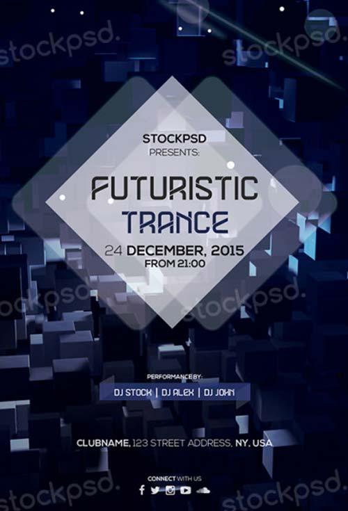 Futuristic Trance Free PSD Flyer Template