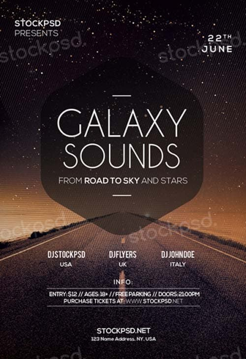 Download Galaxy Sounds Free PSD Flyer Template