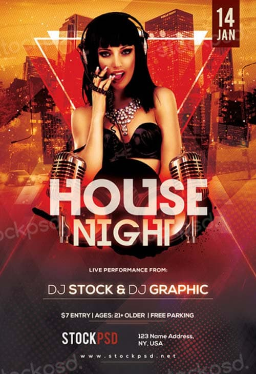 House Night Free PSD Flyer Template