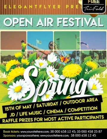 Free Spring Festival Party PSD Flyer Template