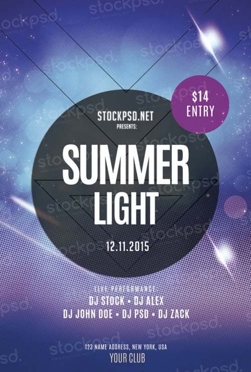 Summer Light Party Free PSD Flyer Template