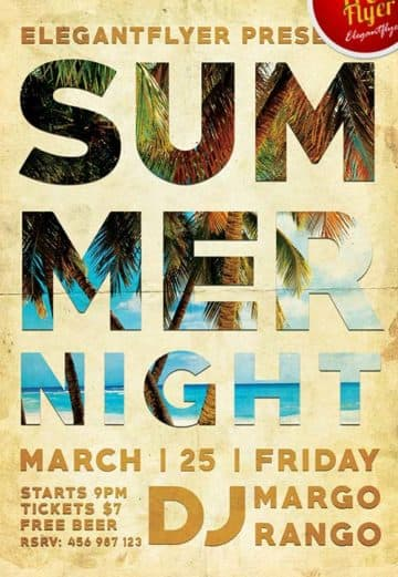 Free Summer Night Party PSD Flyer Template