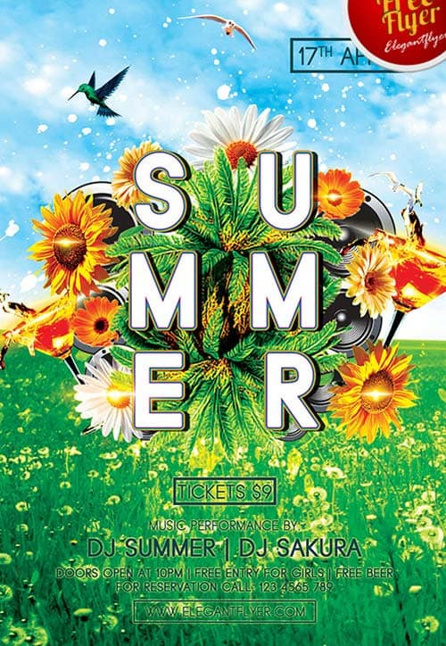Green Summer Party Free PSD Flyer Template