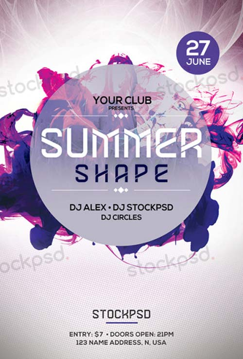 Summer Shapes Free PSD Flyer Template