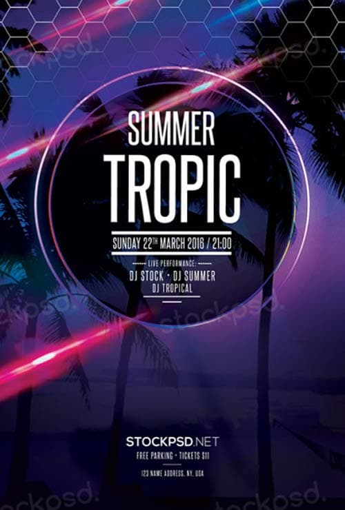 Summer Tropic Party Free PSD Flyer Template