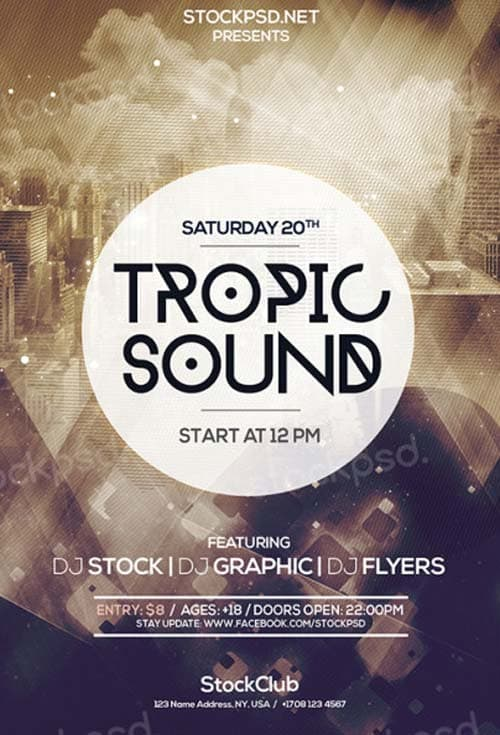 FreePSDFlyer | Tropic Sound Free PSD Flyer Template - Download Flyer ...