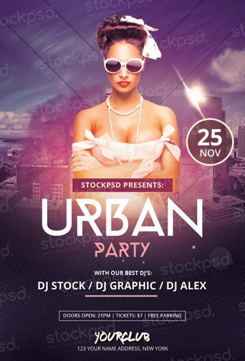 Download Urban Party Free PSD Flyer Template for Photoshop