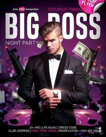 Big Boss Party Flyer PSD Template