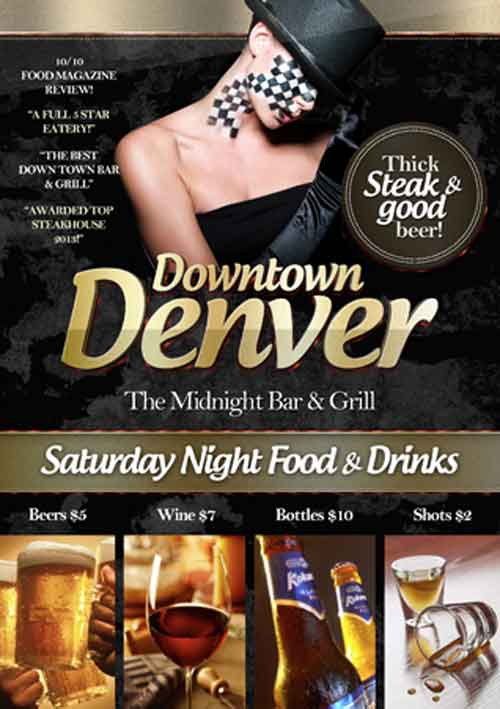 Downtown Bar Free Psd Flyer Template  Download Bar Flyer Photoshop