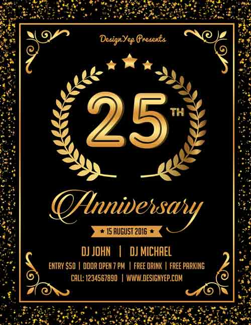 Good Free Anniversary Party Flyer PSD Template