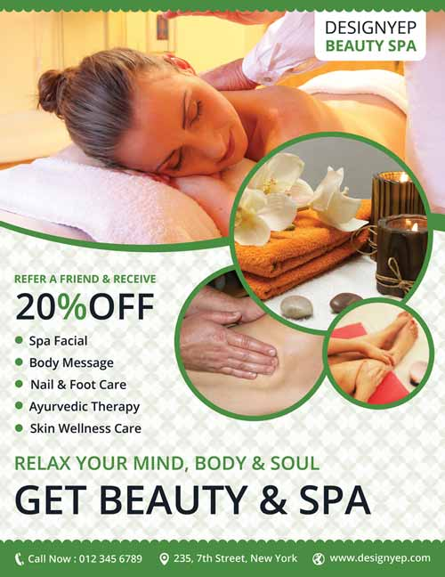 Download Free Wellness Spa Flyer PSD Templates For Photoshop - Spa brochure templates