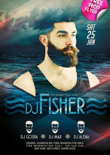 DJ Event Party Free Flyer PSD Template