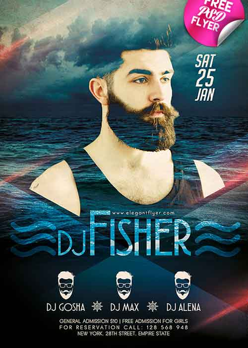 DJ Event Free Flyer PSD Template