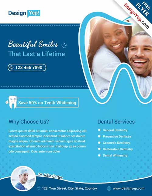 Dental Free Flyer PSD Template
