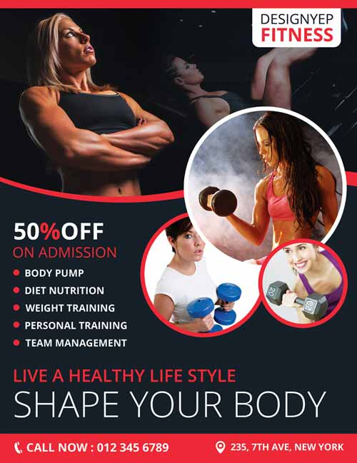 Fitness Club Gym Free Flyer PSD Template  Fitness Templates Free