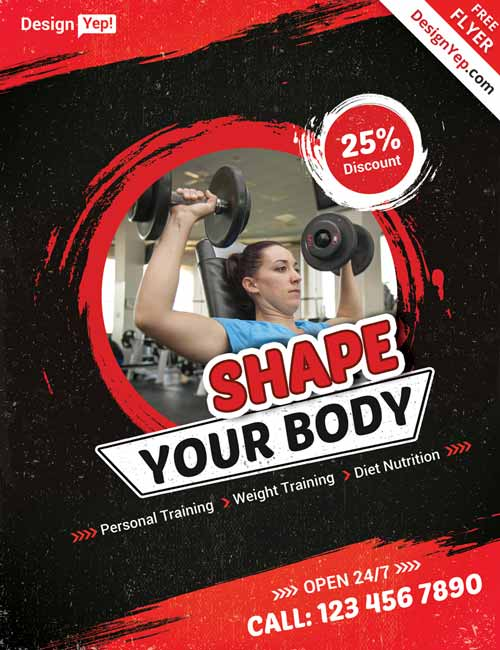 Download Free Fitness Gym Flyer PSD Templates for Photoshop – Fitness Flyer