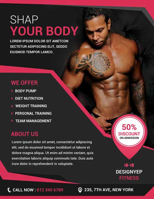 Free Fitness and Gym Flyer PSD Template