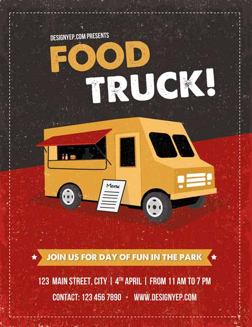 Food Truck Free Flyer Psd Template on examples of boxing