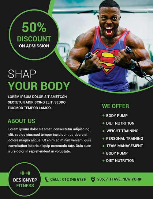 Gym and Fitness Free Flyer PSD Template