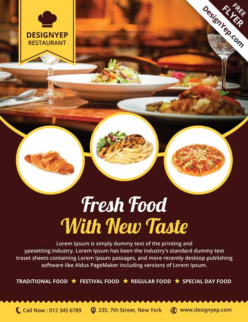 Restaurant Free PSD Flyer Template