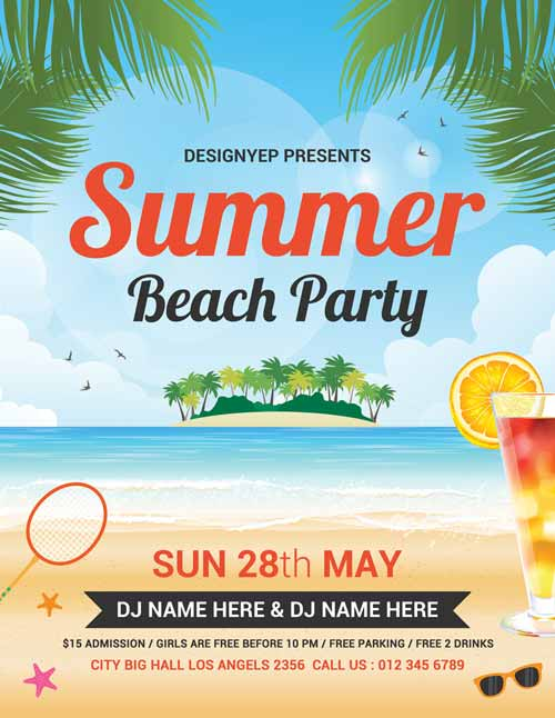 Beach Party Free Flyer PSD Template – Beach Party Flyer Template