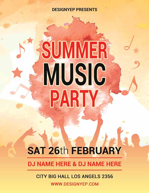 Freepsdflyer Summer Music Party Free Psd Flyer Template
